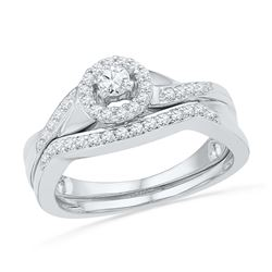0.40 CTW Diamond Halo Bridal Engagement Ring 10KT White Gold - REF-52K4W
