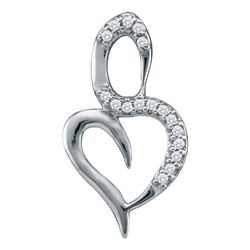 0.05 CTW Diamond Small Heart Pendant 10KT White Gold - REF-5K2W