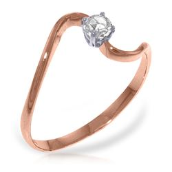 Genuine 0.15 ctw Diamond Anniversary Ring Jewelry 14KT Rose Gold - REF-34H3X