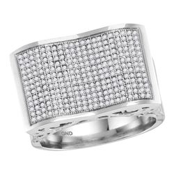 0.83 CTW Mens Pave-set Diamond Rectangle Concave Cluster Ring 10KT White Gold - REF-71Y9X