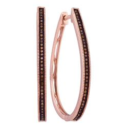 0.25 CTW Red Color Diamond Slender Large Unique Hoop Earrings 10KT Rose Gold - REF-37K5W