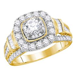 2 CTW Diamond Solitaire Bridal Engagement Ring 14KT Yellow Gold - REF-299H9M