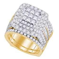 3.98 CTW Princess Diamond Bridal Engagement Ring 14KT Yellow Gold - REF-389F9N
