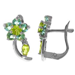Genuine 1.72 ctw Blue Topaz & Peridot Earrings Jewelry 14KT White Gold - REF-40Y5F