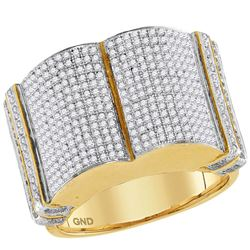 1.2 CTW Mens Diamond Symmetrical Rounded Cluster Ring 10KT Yellow Gold - REF-82K4W