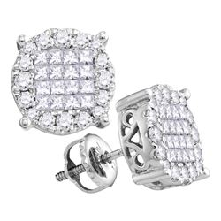 0.50 CTW Princess Diamond Soleil Cluster Earrings 14KT White Gold - REF-52N4F