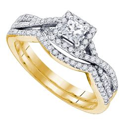 0.63 CTW Princess Diamond Bridal Engagement Ring 14KT Yellow Gold - REF-97W4K