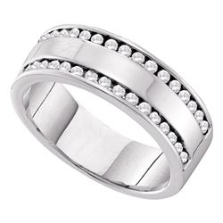 0.50 CTW Diamond Double Row Wedding Ring 14KT White Gold - REF-82H4M