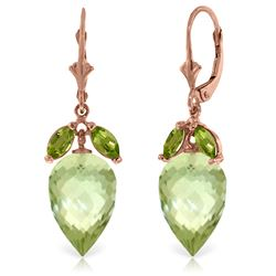 Genuine 20 ctw Green Amethyst & Peridot Earrings Jewelry 14KT Rose Gold - REF-51P8H