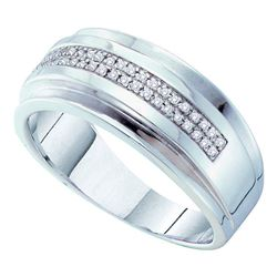 0.15 CTW Mens Pave-set Diamond Double Row Wedding Ring 10KT White Gold - REF-37W5K