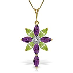 Genuine 2.0 ctw Amethyst, Peridot & Diamond Necklace Jewelry 14KT Yellow Gold - REF-47Y4F