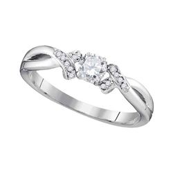 0.33 CTW Diamond Solitaire Bridal Anniversary Ring 10KT White Gold - REF-41K9W