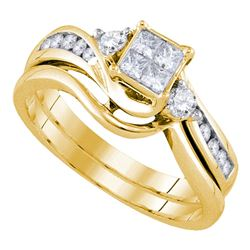 0.50 CTW Diamond Princess Bridal Engagement Ring 10KT Yellow Gold - REF-71W3K