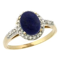 Natural 1.13 ctw Lapis & Diamond Engagement Ring 14K Yellow Gold - REF-30F9N