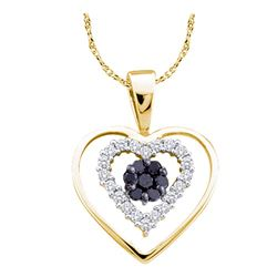 0.25 CTW Black Color Diamond Double Heart Cluster Pendant 14KT Yellow Gold - REF-20X9Y