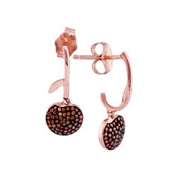 0.25 CTW Red Color Diamond Dangle Cluster Earrings 10KT Rose Gold - REF-30M2H