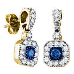 0.66 CTW Blue Color Diamond Square Dangle Screwback Earrings 10KT Yellow Gold - REF-44H9M