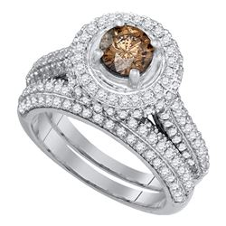 2.07 CTW Cognac-brown Color Diamond Halo Bridal Ring 14KT White Gold - REF-179Y9X