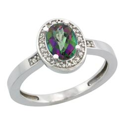Natural 1.08 ctw Mystic-topaz & Diamond Engagement Ring 10K White Gold - REF-25X5A