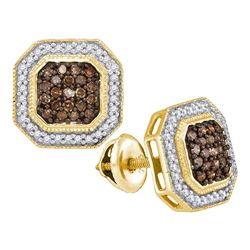 0.50 CTW Cognac Brown Color Diamond Octagon Stud Earrings 10KT Yellow Gold - REF-30K2W