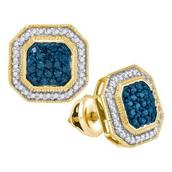 0.50 CTW Blue Color Diamond Octagon Cluster Earrings 10KT Yellow Gold - REF-31K4W