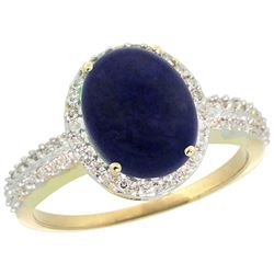 Natural 2.56 ctw Lapis & Diamond Engagement Ring 14K Yellow Gold - REF-39R8Z