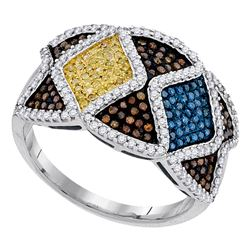 0.75 CTW Multicolor Diamond Fashion Ring 10KT White Gold - REF-75X2Y