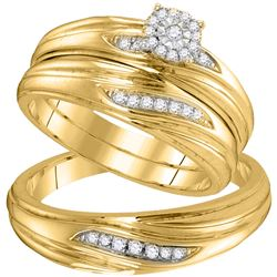 0.20 CTW Diamond His & Hers Matching Trio Engagement Bridal Ring 10KT Yellow Gold - REF-34W4K