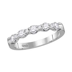 0.50 CTW Diamond Wedding Anniversary Ring 14KT White Gold - REF-59W9K
