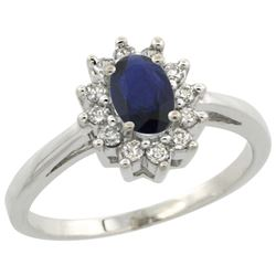 Natural 0.82 ctw Blue-sapphire & Diamond Engagement Ring 10K White Gold - REF-21M5H