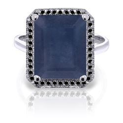 Genuine 6.6 ctw Sapphire & Black Diamond Ring Jewelry 14KT White Gold - REF-111Y7F