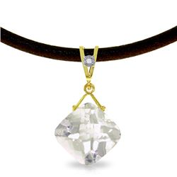 Genuine 8.76 ctw White Topaz & Diamond Necklace Jewelry 14KT Yellow Gold - REF-30N6R