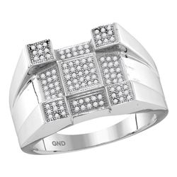 0.45 CTW Mens Diamond Square Corner Cluster Ring 10KT White Gold - REF-44X9Y