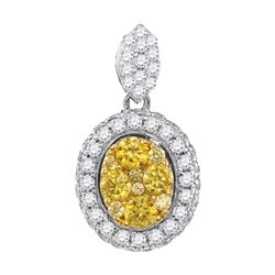 1.04 CTW Canary Yellow Diamond Oval Cluster Pendant 14KT White Gold - REF-119H9M