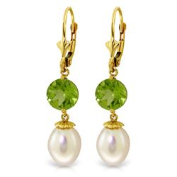 Genuine 11.10 ctw Pearl & Peridot Earrings Jewelry 14KT Yellow Gold - REF-26A6K