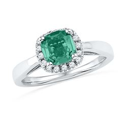 1.51 CTW Created Emerald & Diamond Ring 10KT White Gold - REF-25K4W