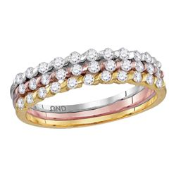 0.51 CTW Diamond Ring 10KT Tri-tone Gold - REF-34X4Y
