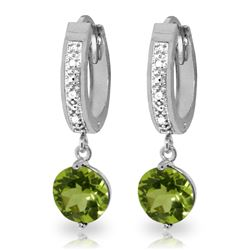 Genuine 2.63 ctw Peridot & Diamond Earrings Jewelry 14KT White Gold - REF-56T2A