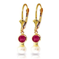 Genuine 5.2 ctw Ruby & Pearl Earrings Jewelry 14KT Yellow Gold - REF-39N3R
