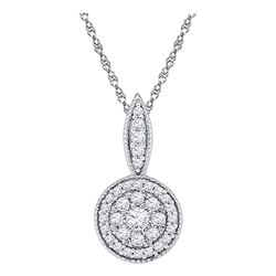 0.33 CTW Diamond Circle Flower Cluster Pendant 10KT White Gold - REF-26X9Y