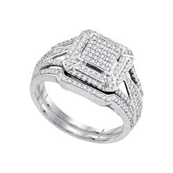 0.50 CTW Diamond Cluster Bridal Engagement Ring 10KT White Gold - REF-52K4W