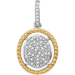 0.08 CTW Diamond Oval Cluster Yellow-tone Rope Pendant 10KT Two-tone Gold - REF-14X9Y