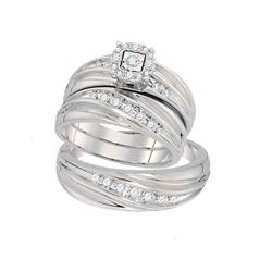 0.43 CTW Diamond Mens Matching Trio Bridal Ring 10KT White Gold - REF-63H8M