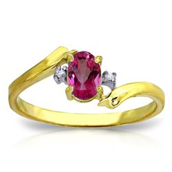 Genuine 0.46 ctw Pink Topaz & Diamond Ring Jewelry 14KT Yellow Gold - REF-28V3W