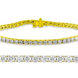 Natural 3.02ct VS-SI Diamond Tennis Bracelet 14K Yellow Gold - REF-200Y5M
