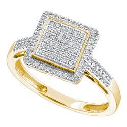 0.30 CTW Diamond Square Cluster Ring 10KT Yellow Gold - REF-30M2H