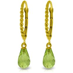 Genuine 3 ctw Peridot Earrings Jewelry 14KT Yellow Gold - REF-24M3T