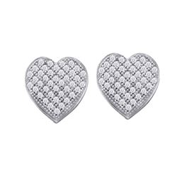 0.10 CTW Diamond Heart Screwback Earrings 10KT White Gold - REF-8X9Y