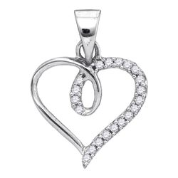 0.10 CTW Diamond Heart Love Pendant 10KT White Gold - REF-6F6N