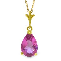 Genuine 1.50 ctw Pink Topaz Necklace Jewelry 14KT Yellow Gold - REF-20A3K